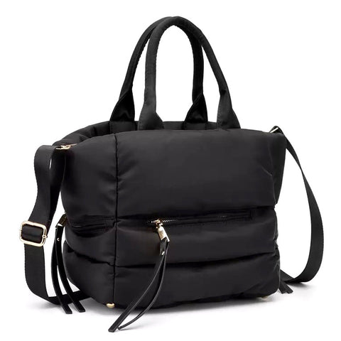 Puffed Nylon Black Tote Bag