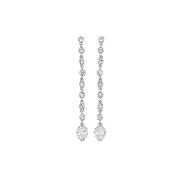 8 Bezel Cz and Teardrop Dangling Stud Earrings