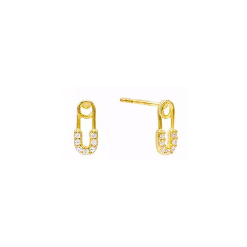 Mini Safety Pin Pave Stud Earrings