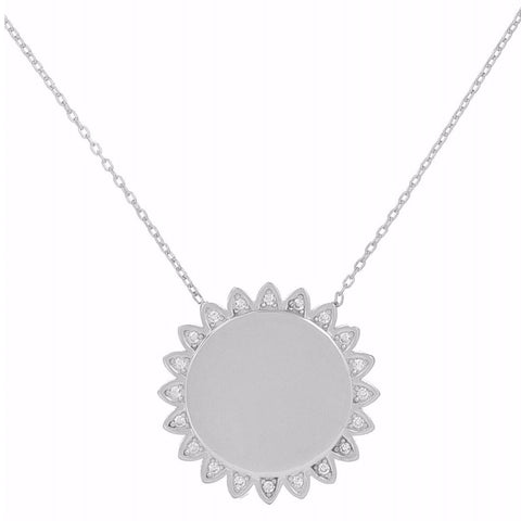 Collier Grand Tournesol Pierres Blanches