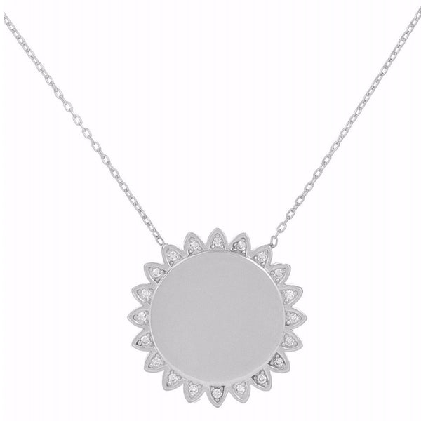 Large Sunflower White Stones Necklace