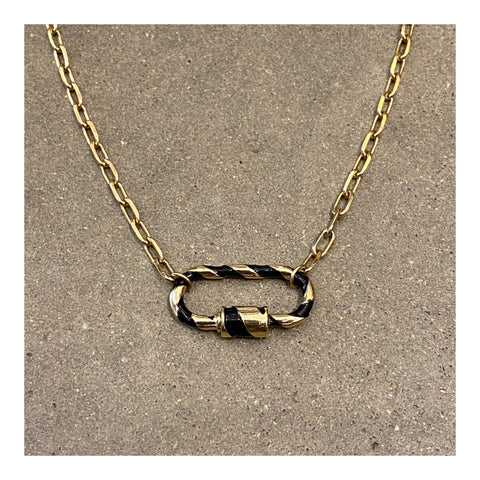 Stripe Enamel Small Padlock Choker Necklace