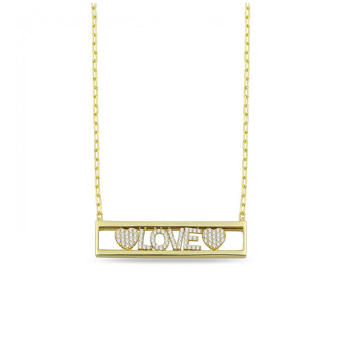 Sliding In Cased Pave LOVE with Hearts Necklace
