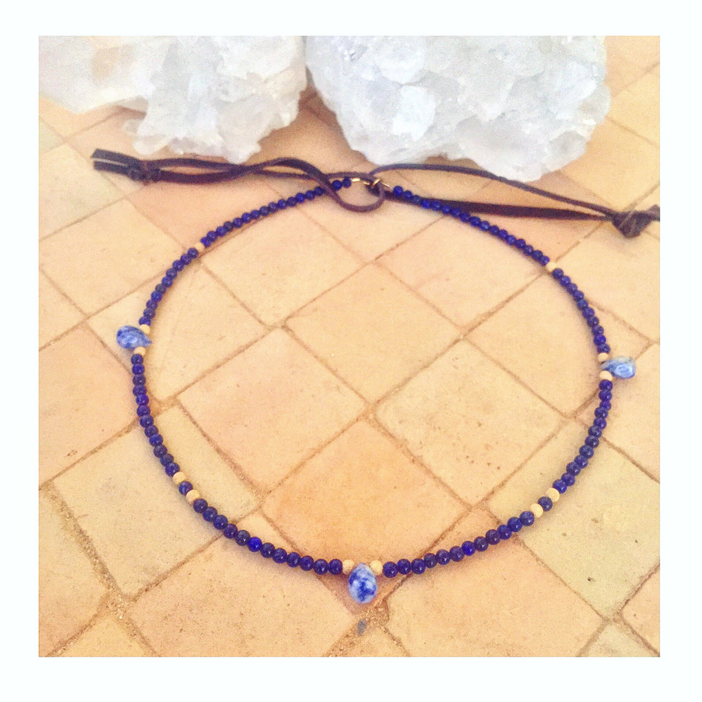 3 Teardrops Blue Custom Beaded Choker Necklace