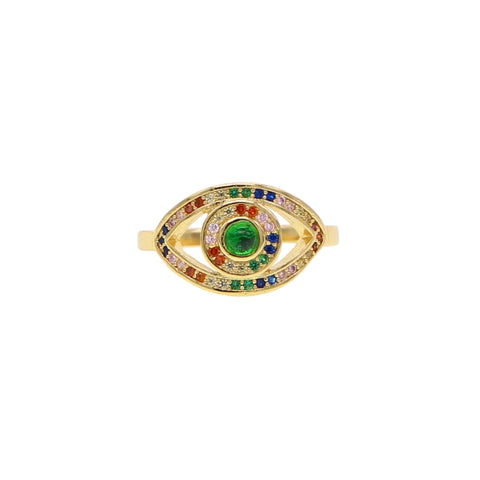 Large Eye Pave Rainbow Green Center Ring