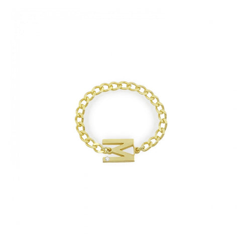 Letter Cuban Links Chain Ring