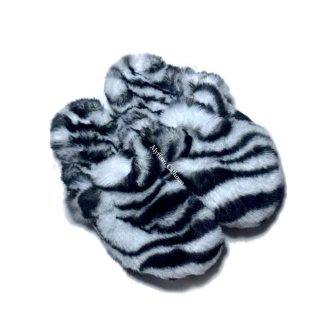 Vegan Zebra Boston Slippers