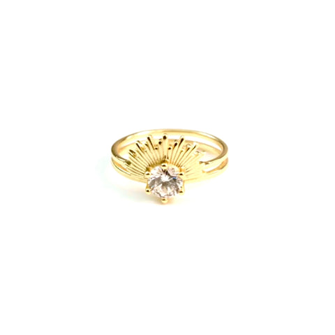 Solitaire Center Sunburst Ring