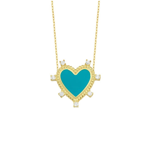 Enamel Snow White Heart Necklace
