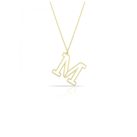 Laser Cut Hollow Initial Necklace