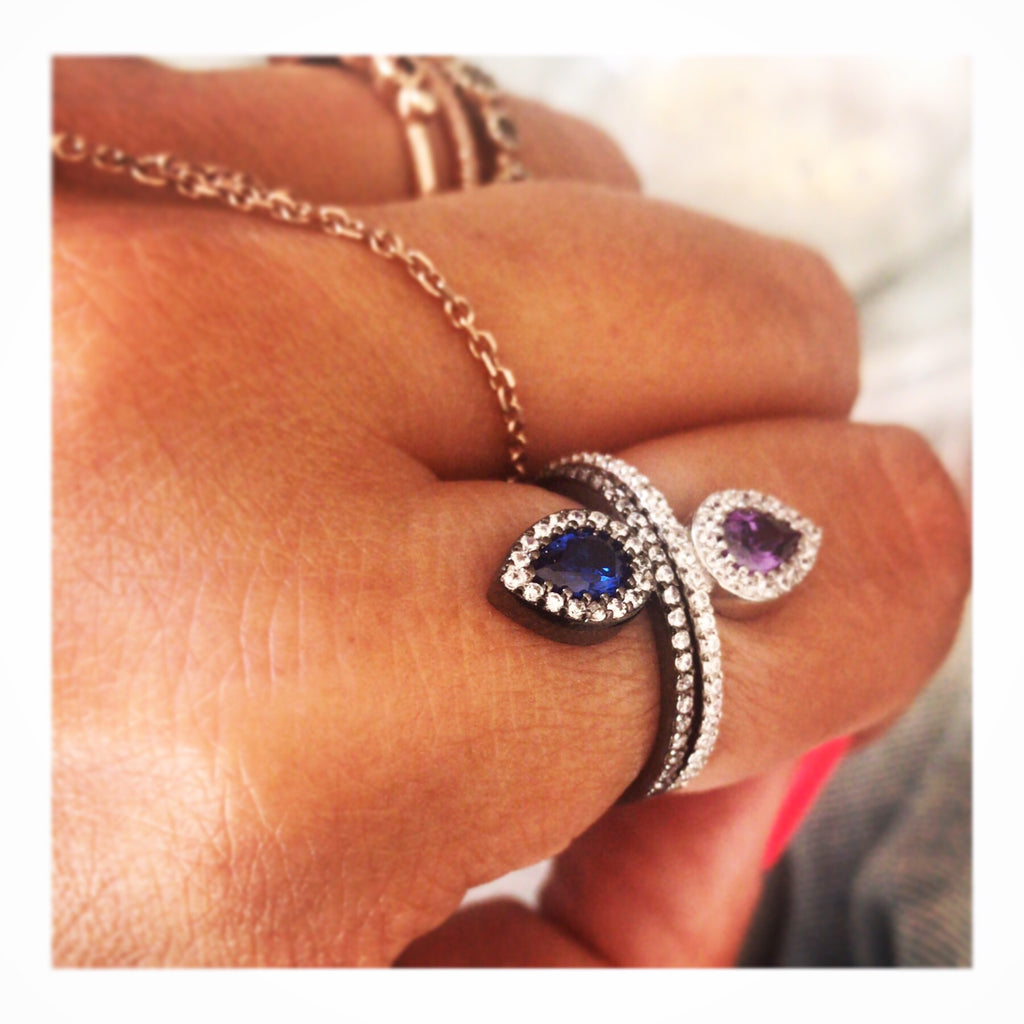 Single Drop Pave Ring