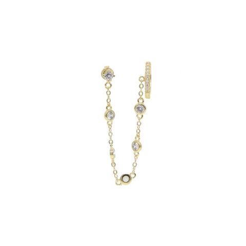 Stud Bezel Chain Connected Ear Cuff