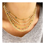 Thick Linked Chain 11 Drops Necklace