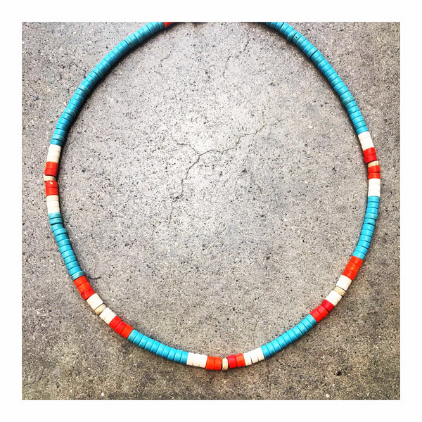 Turquoise, White & Orange Custom Beaded Choker Necklace