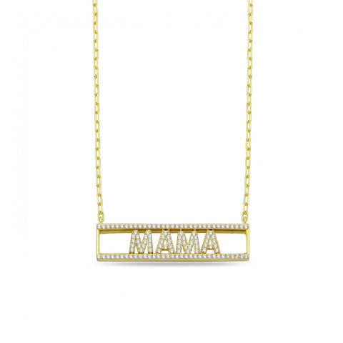 Sliding In Cased Pave MAMA Necklace