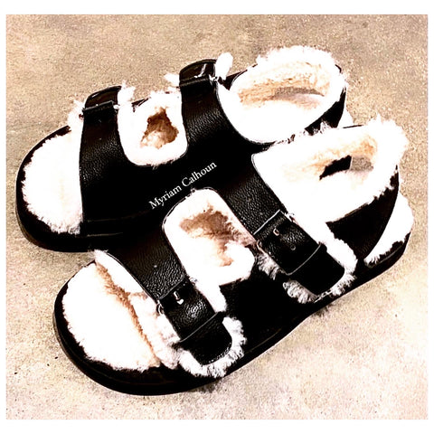 Black Milano Shearling Slippers