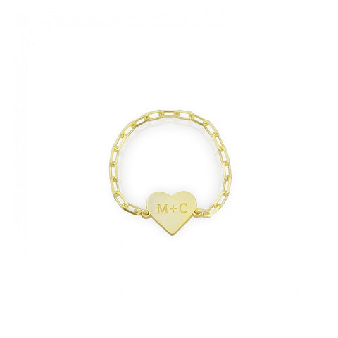 Heart Engraved Letters Link Chain Ring
