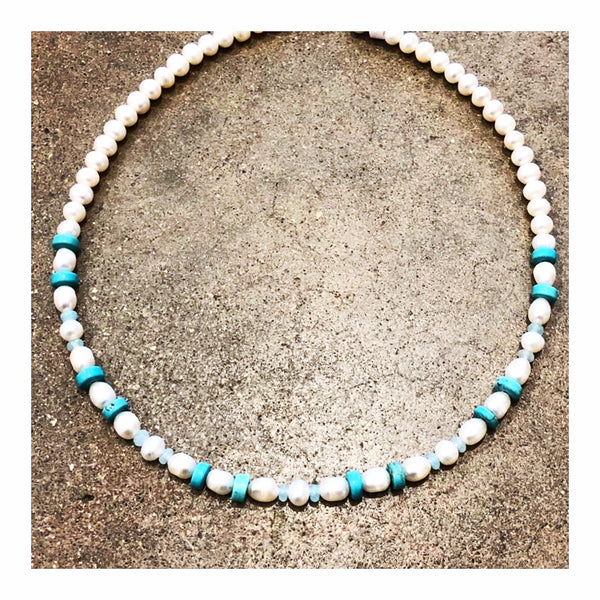 Fresh Water Pearls & Turquoise Custom Beaded Necklace