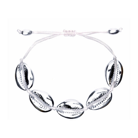 SALE Silver Plated Cowries Cord Bracelet