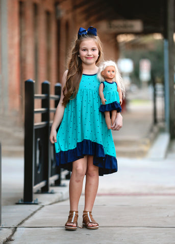 Elsa Dress  - Turquoise Oceans 4, 6, 8, 10, 12, 14
