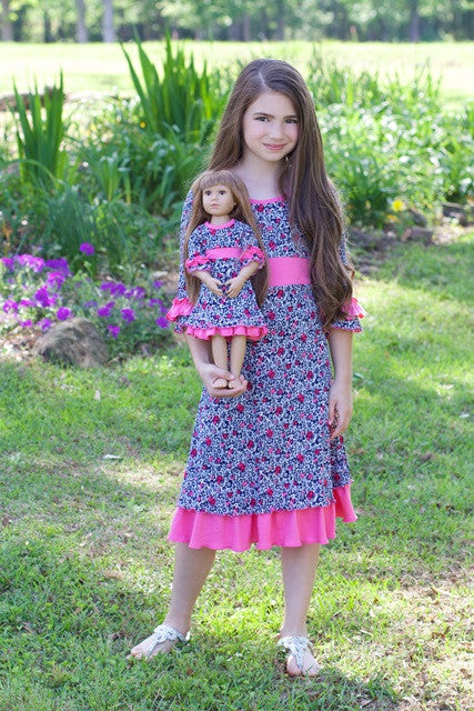 Celia dress with matching doll dress for 18 inch doll like e.g. American Girl. Designed by Lilli Lovebird www.lillilovebird.com
