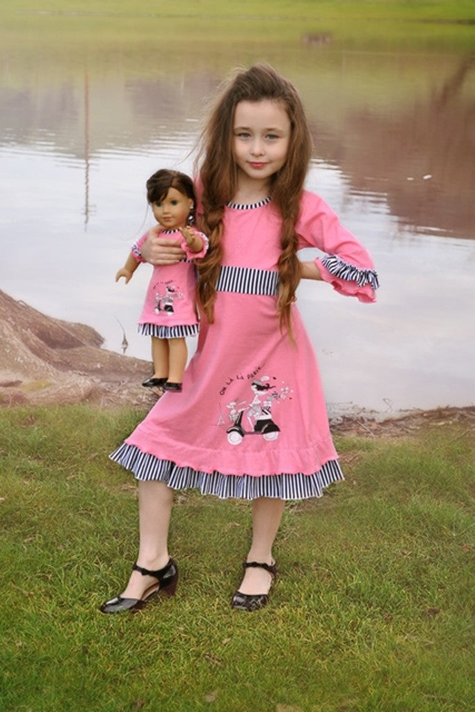 Dress with matching doll dress for 18 inch doll like e.g. American Girl. Celia dress Oh la la Paris designed by Lilli Lovebird www.lillilovebird.com