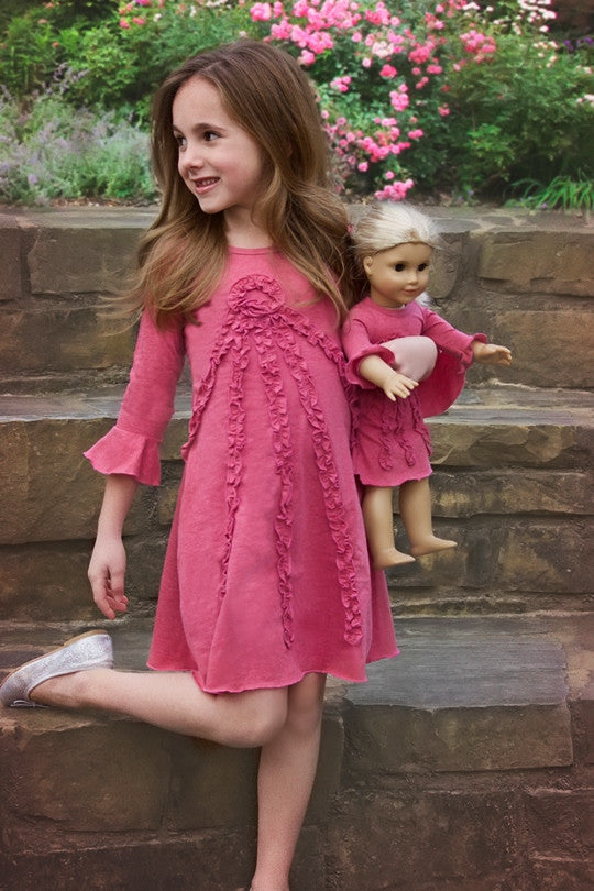 Dress with matching doll dress for 18 inch doll like e.g. American Girl. Fleur dress Marsala designed by Lilli Lovebird www.lillilovebird.com