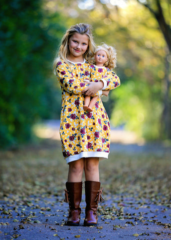Josy Jumper Dress -  Mustard Flowers 4, 6, 8, 10, 12