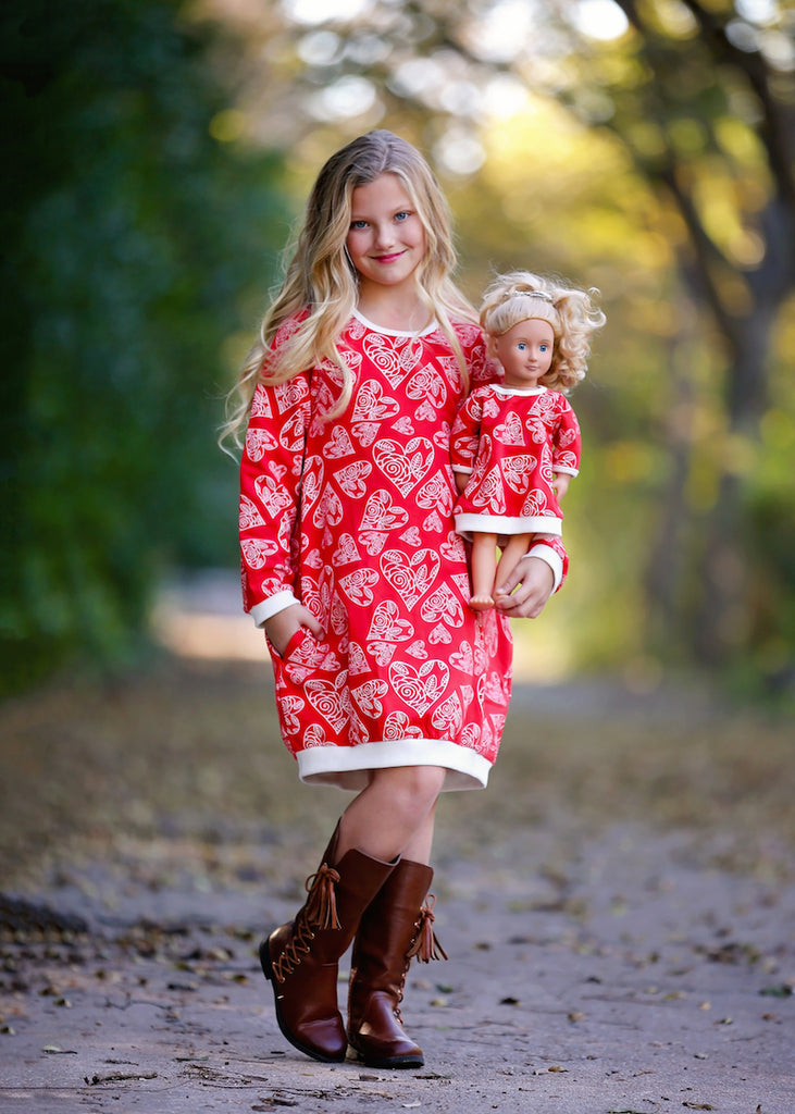 Jumper Dress - Candy Cane Hearts 4, 6, 8, 10, 12