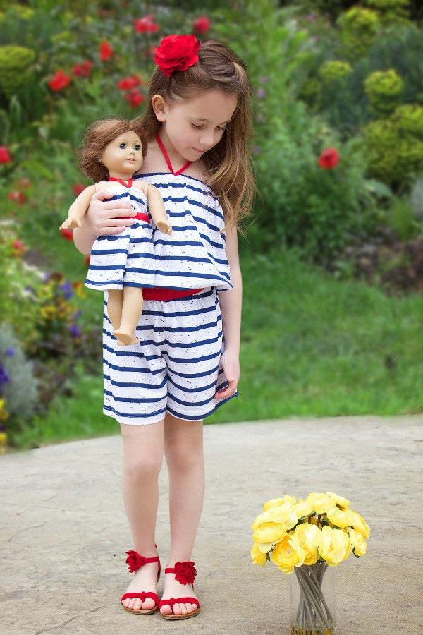 Overall with matching doll garment for 18 inch doll like e.g. American Girl. Leo Overall designed by Lilli Lovebird www.lillilovebird.com