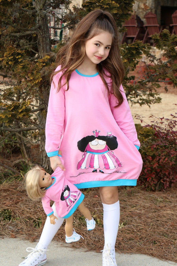 Dress with matching doll dress for 18 inch doll like e.g. American Girl. Preppy Princess Jumper designed by Lilli Lovebird www.lillilovebird.com