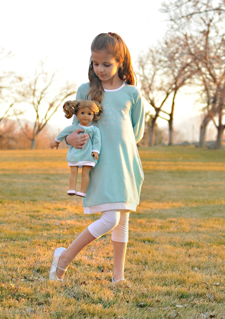 "Dress with matching doll dress for 18 inch doll like e.g. American Girl. ""Goodness is magic"" Jumper designed by Lilli Lovebird www.lillilovebird.com"