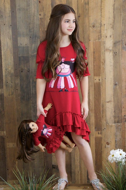 Dress with matching doll dress for 18 inch doll like e.g. American Girl. Cibella dress Preppy Princess designed by Lilli Lovebird www.lillilovebird.com