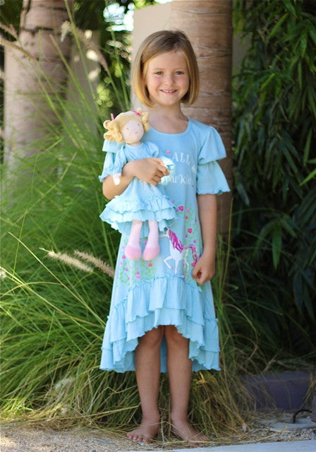 Dress with matching doll dress for 18 inch doll like e.g. American Girl. Cibella dress WeAreAllBornToSparkle designed by Lilli Lovebird www.lillilovebird.com
