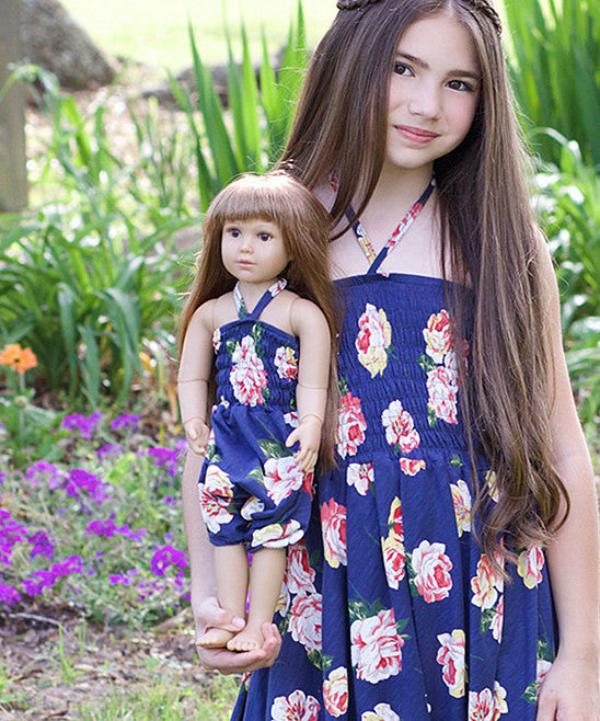 Doll Overall - Roses Blue