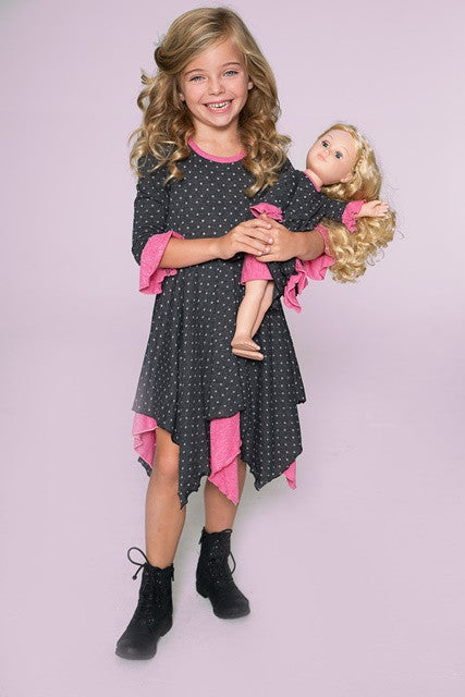 Pixie Pia dress - Polkas go Pink