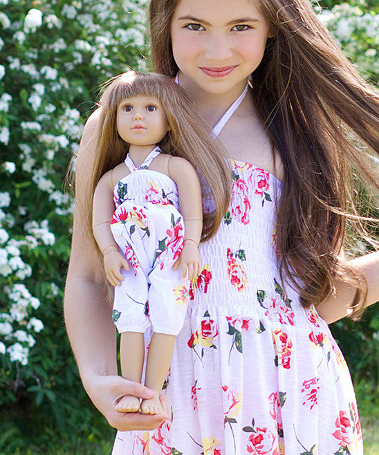 Doll Overall - Roses White