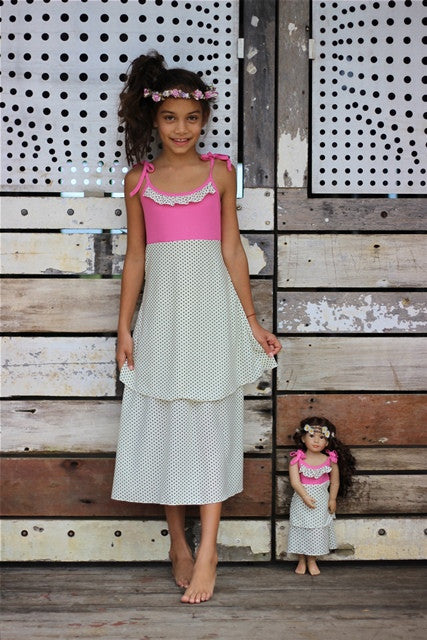 matching girl and doll dress for 18 inch dolls like America Girl handmade by Lilli Lovebird www.lillilovebird.com