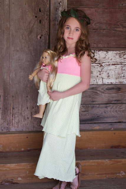 Dress with matching doll dress for 18 inch doll like e.g. American Girl. Diva Maxi Dress designed by Lilli Lovebird www.lillilovebird.com