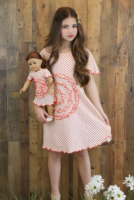 Shelley dress - Vanille & Red