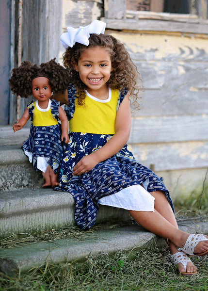 Pia Pixie Dress - Navy and Yellow size 4, 6, 8, 10, 12