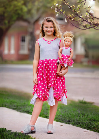 Orchid Dress - Fuchsia Dots size 4, 6, 8, 10, 12