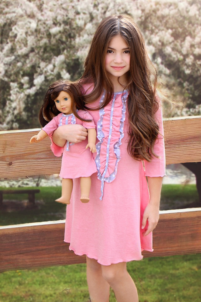 Dress with matching doll dress for 18 inch doll like e.g. American Girl. Ella dress Spring Whisper designed by Lilli Lovebird www.lillilovebird.com