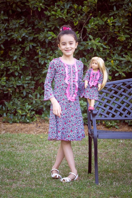 Dress with matching doll dress for 18 inch doll like e.g. American Girl. Ella dress Monet's Garden designed by Lilli Lovebird www.lillilovebird.com