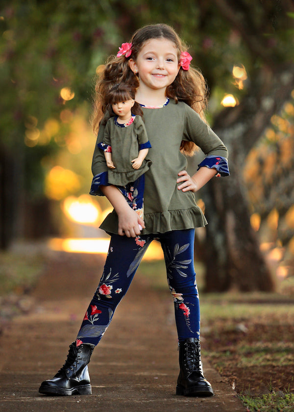 Top and Legging Set - Moss Green 4, 6, 8, 10, 12