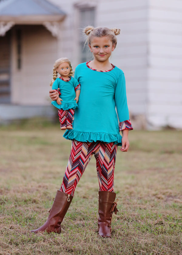 Top and Legging Set - Teal Chevrons 4, 6, 8, 10, 12