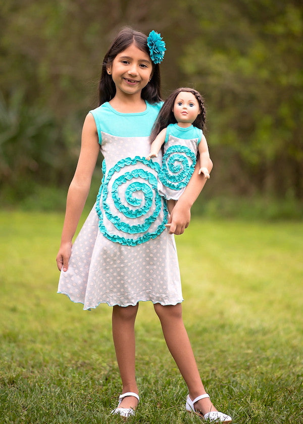 Shelley Dress - Dotty Turquoise size 4, 6, 8, 10, 12