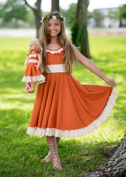 Heidi dress - Burnt Orange and Vanilla