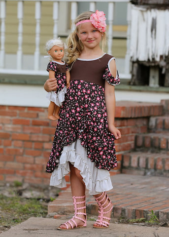 Isabella dress - Chocolate Flowers size 4, 6, 8, 10, 12