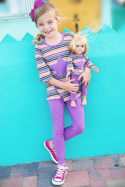 Leila Leggings & T-Shirt Set - Purple Star
